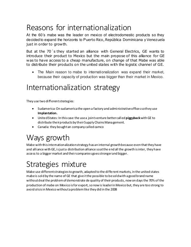 Mabe: Learning to be a Multinational Harvard Case Solution & Analysis