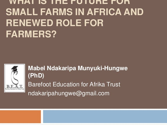 WHAT IS THE FUTURE FOR SMALL FARMS IN AFRICA AND RENEWED ROLE FOR FARMERS?  Mabel Ndakaripa Munyuki-Hungwe (PhD) Barefoot ...