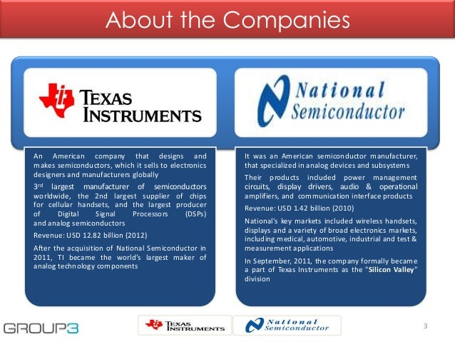 Texas Instruments' Acquisition of  National Semiconductor Slide 3