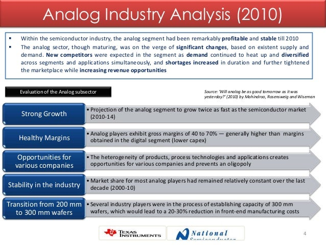 4 Analog Industry Analysis (2010)  Within the semiconductor industry, the analog segment had been remarkably profitable a...