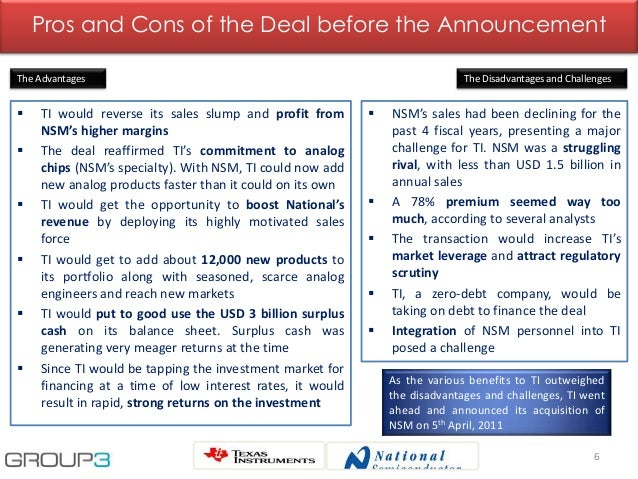 6 Pros and Cons of the Deal before the Announcement  TI would reverse its sales slump and profit from NSM's higher margin...