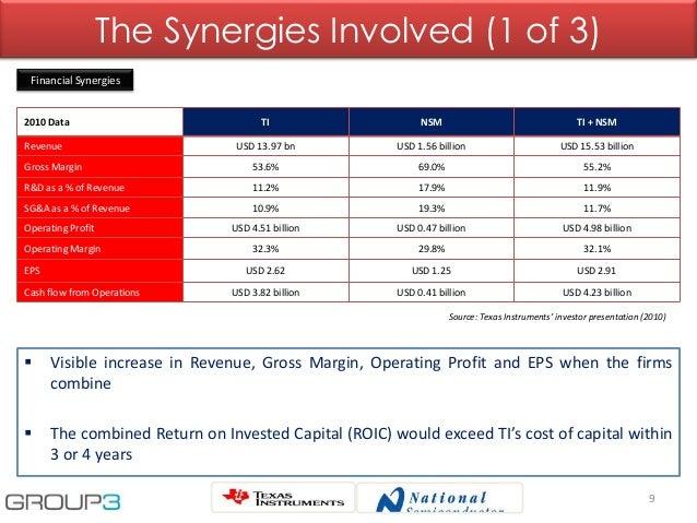 2010 Data TI NSM TI + NSM Revenue USD 13.97 bn USD 1.56 billion USD 15.53 billion Gross Margin 53.6% 69.0% 55.2% R&D as a ...