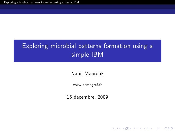 Exploring microbial patterns formation using a simple IBM                  Exploring microbial patterns formation using a ...