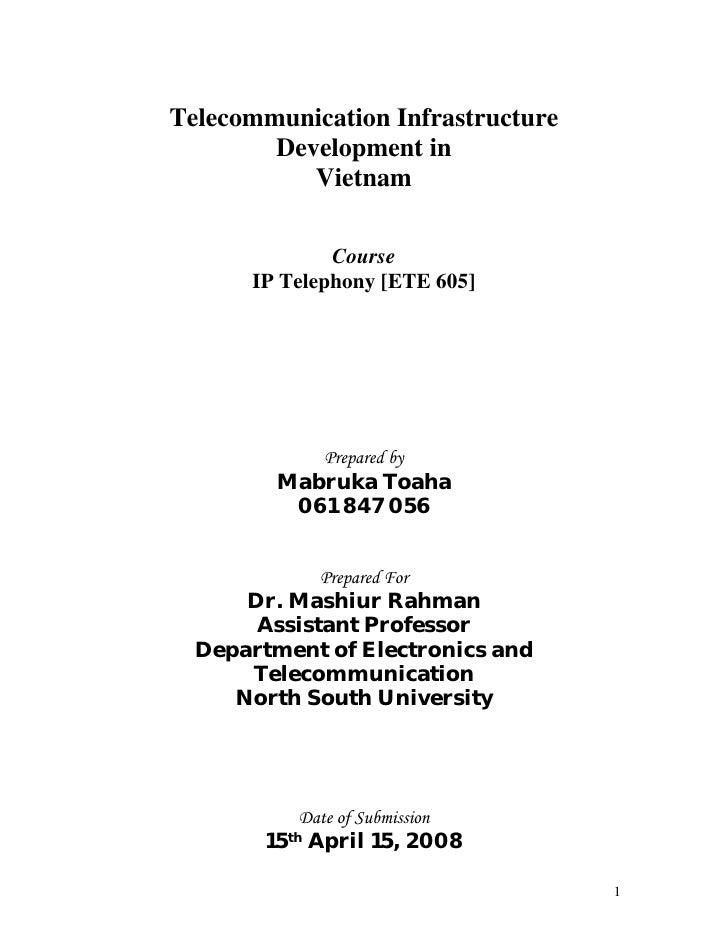 Telecommunication Infrastructure         Development in            Vietnam                Course       IP Telephony [ETE 6...