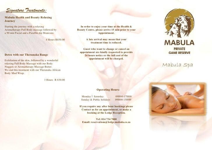Mabula spa brochure – Spa Brochure