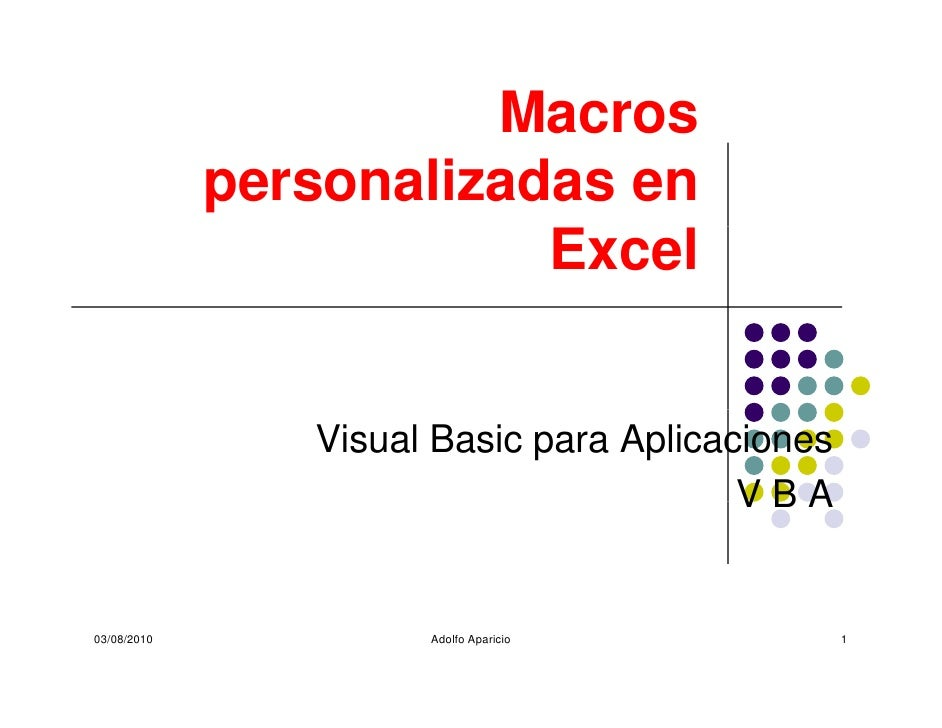 Macros              personalizadas en                          Excel                   Visual Basic para Aplicaciones     ...