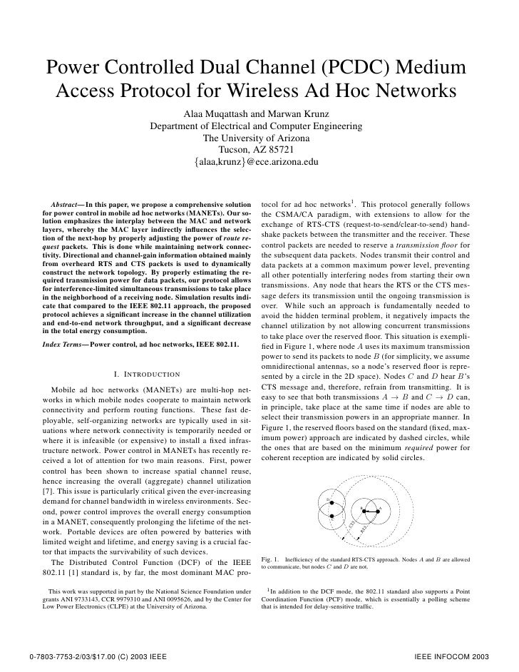 Power Controlled Dual Channel (PCDC) Medium      Access Protocol for Wireless Ad Hoc Networks                             ...