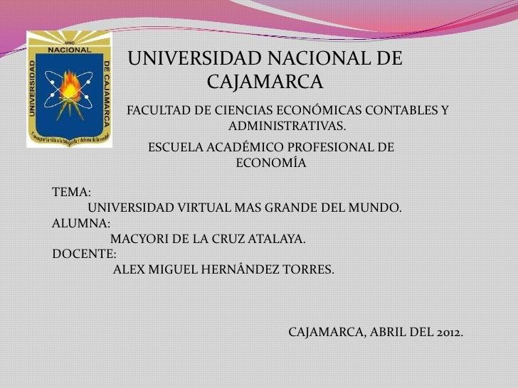 UNIVERSIDAD NACIONAL DE               CAJAMARCA         FACULTAD DE CIENCIAS ECONÓMICAS CONTABLES Y                       ...