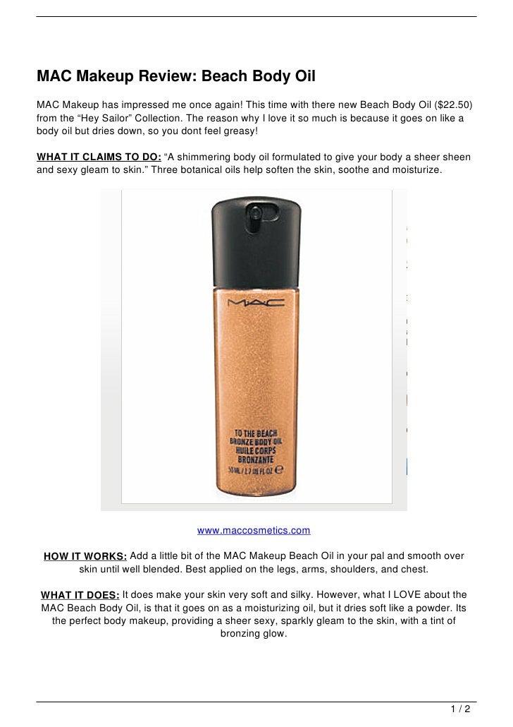 MAC Makeup Review: Beach Body Oil