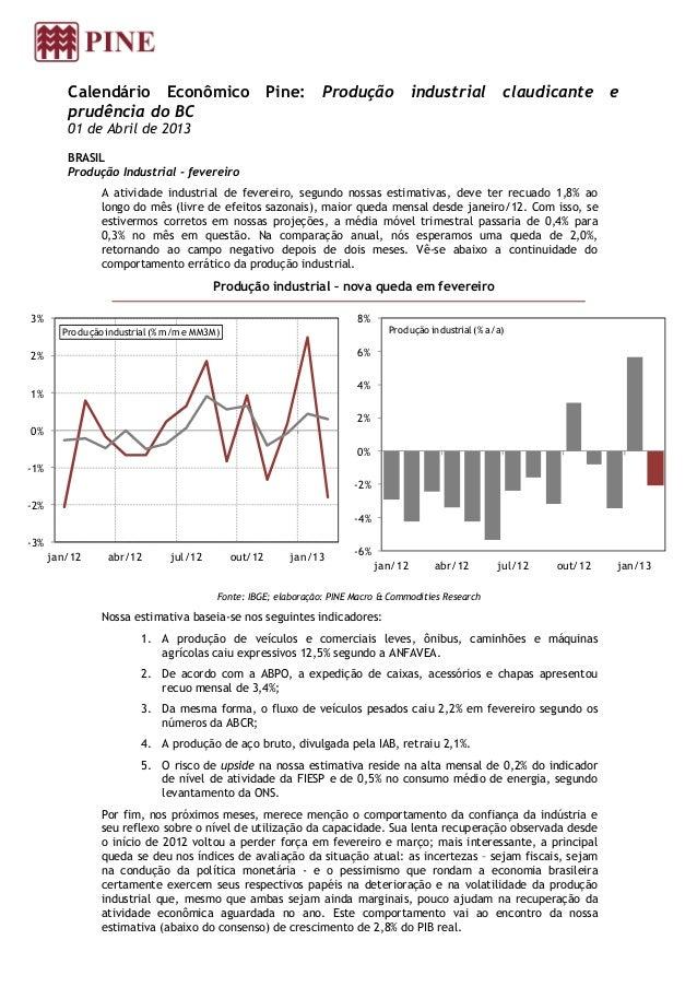 Calendário Econômico Pine:                              Produção              industrial claudicante               e      ...