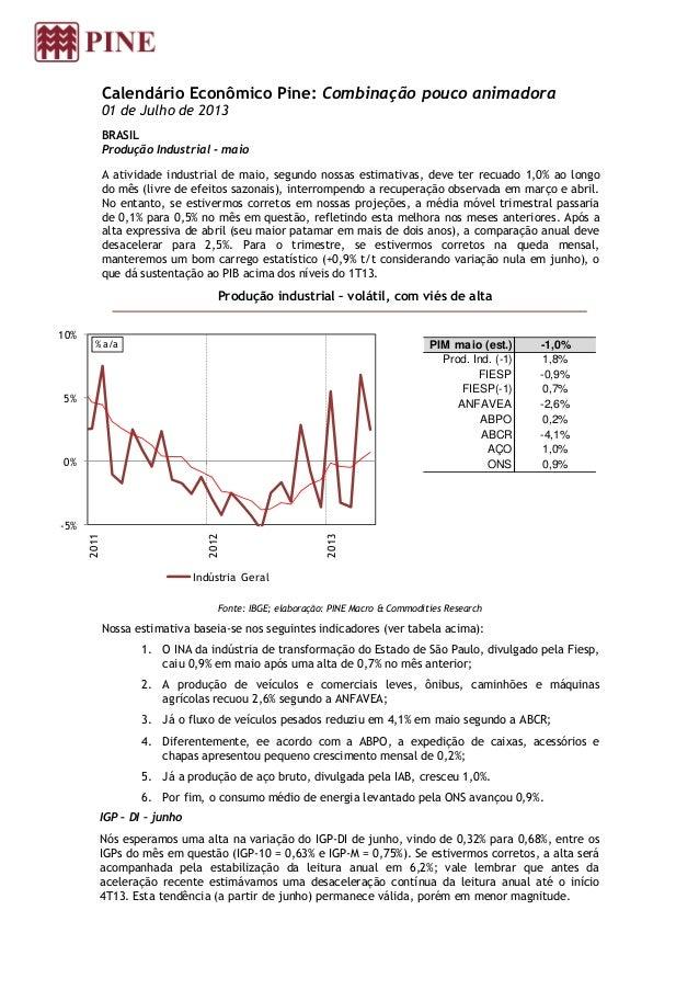Calendário Econômico Pine: Combinação pouco animadora 01 de Julho de 2013 BRASIL Produção Industrial - maio A atividade in...