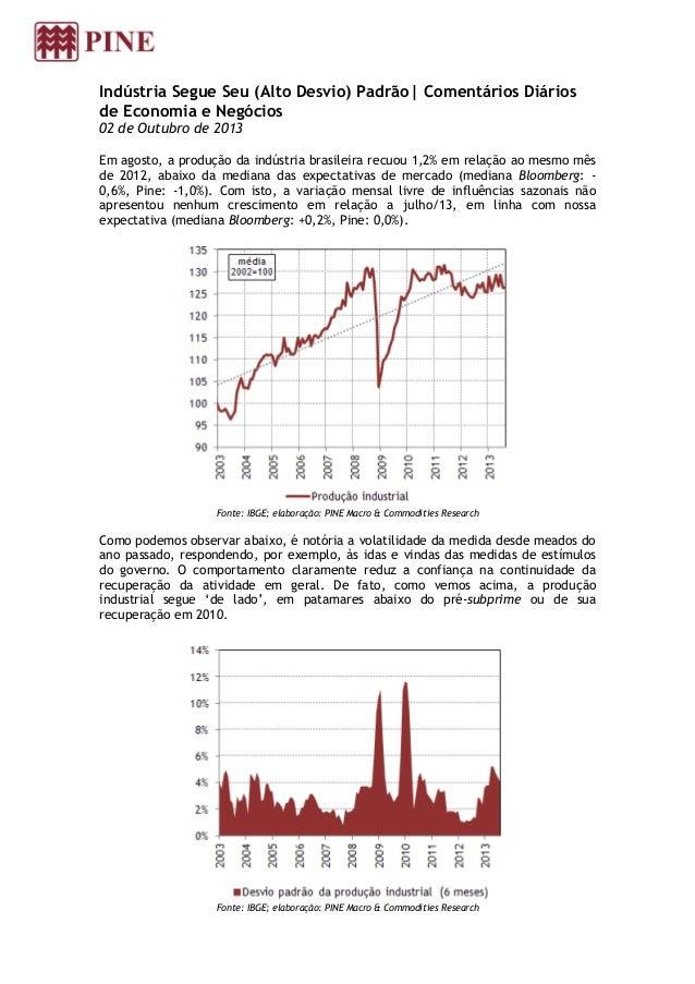 Indústria Segue Seu (Alto Desvio) Padrão  Comentários Diários de Economia e Negócios 02 de Outubro de 2013 Em agosto, a pr...