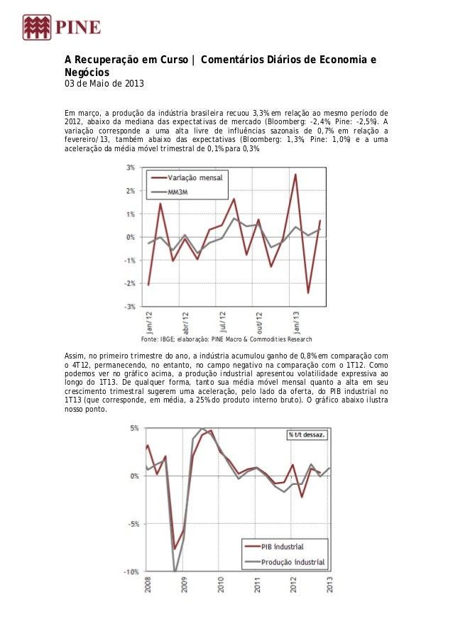 A Recuperação em Curso | Comentários Diários de Economia eNegócios03 de Maio de 2013Em março, a produção da indústria bras...