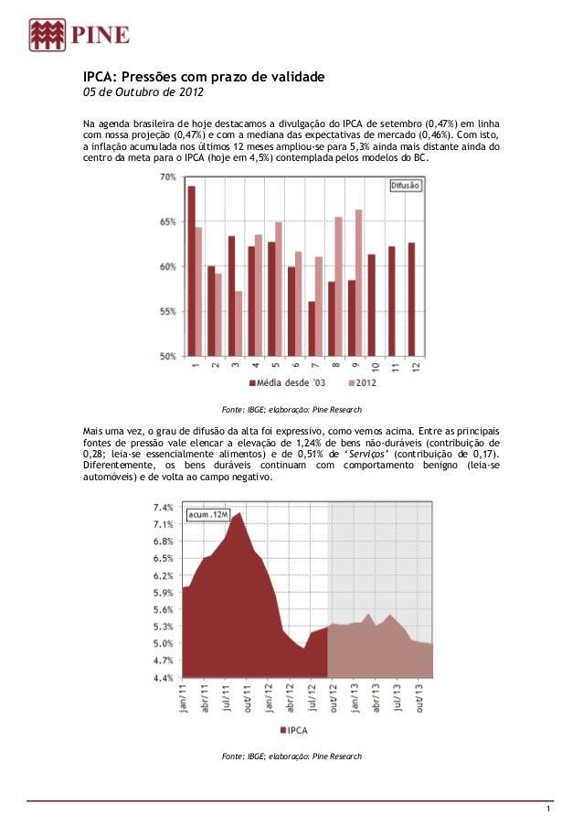 IPCA: Pressões com prazo de validade05 de Outubro de 2012Na agenda brasileira de hoje destacamos a divulgação do IPCA de s...