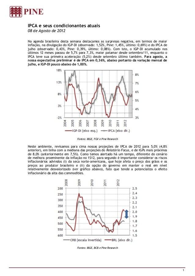 IPCA e seus condicionantes atuais08 de Agosto de 2012Na agenda brasileira desta semana destacamos as surpresas negativa, e...