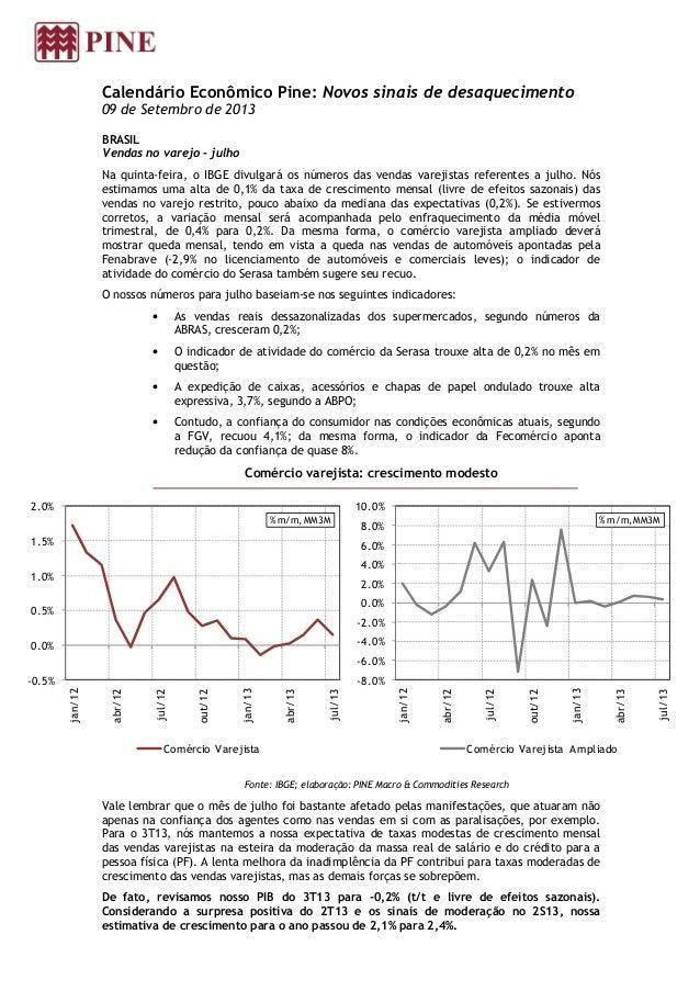 Calendário Econômico Pine: Novos sinais de desaquecimento 09 de Setembro de 2013 BRASIL Vendas no varejo - julho Na quinta...
