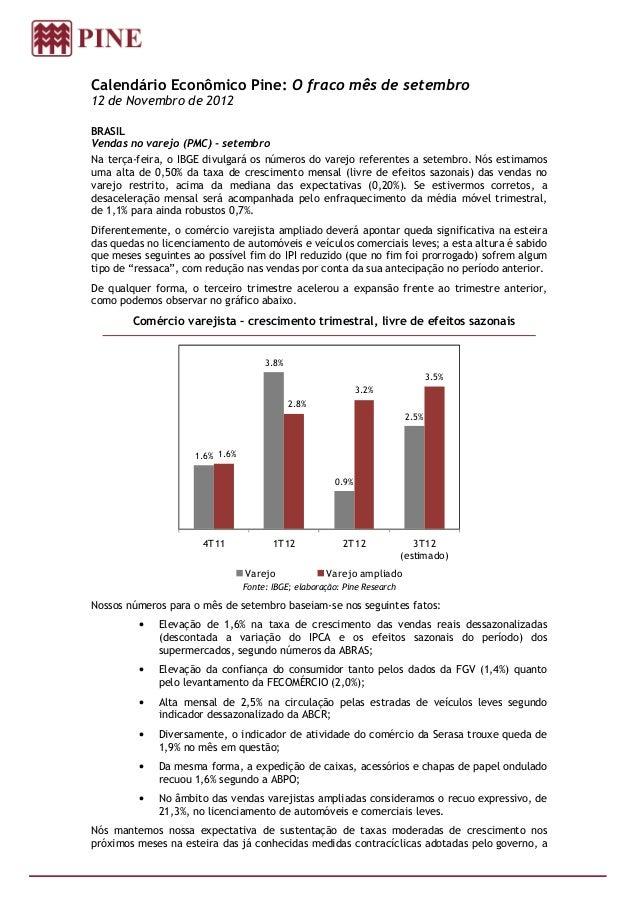 Calendário Econômico Pine: O fraco mês de setembro12 de Novembro de 2012BRASILVendas no varejo (PMC) - setembroNa terça-fe...