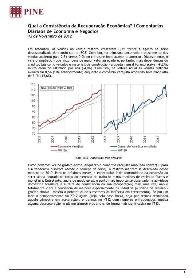 Qual a Consistência da Recuperação Econômica? l ComentáriosDiáriaos de Economia e Negócios13 de Novembro de 2012Em setembr...