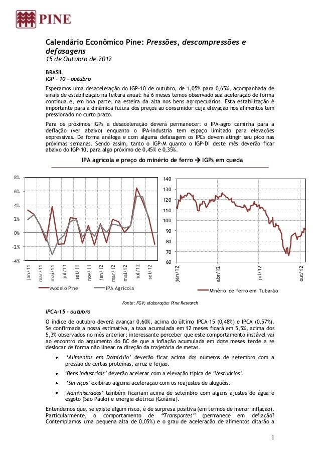 Calendário Econômico Pine: Pressões, descompressões e                        defasagens                        15 de Outub...