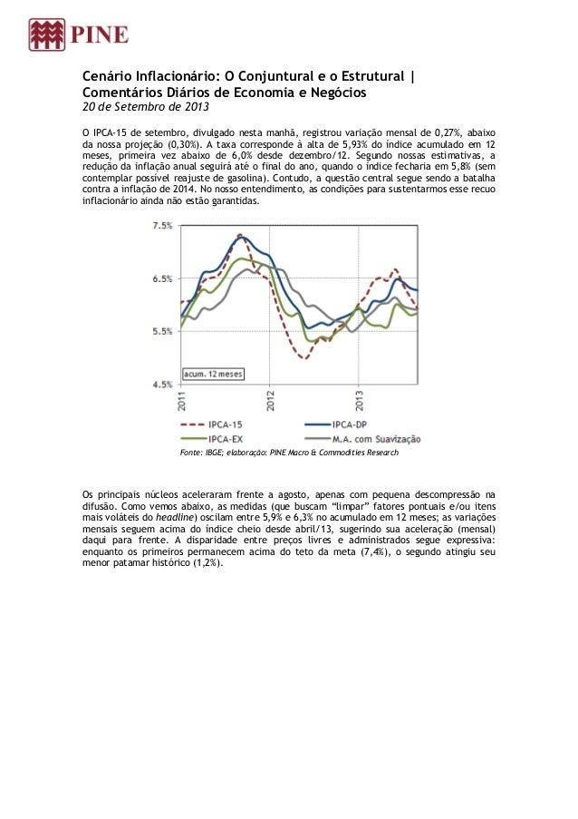 Cenário Inflacionário: O Conjuntural e o Estrutural | Comentários Diários de Economia e Negócios 20 de Setembro de 2013 O ...
