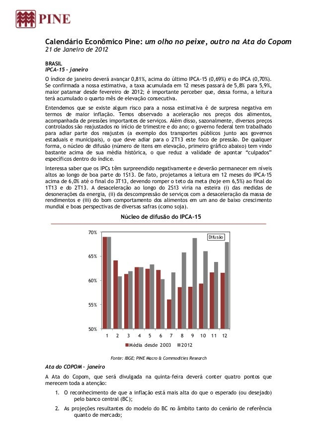 Calendário Econômico Pine: um olho no peixe, outro na Ata do Copom21 de Janeiro de 2012BRASILIPCA-15 - janeiroO índice de ...