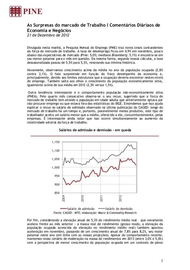 As Surpresas do marcado de Trabalho l Comentários Diáriaos deEconomia e Negócios21 de Dezembro de 2012Divulgada nesta manh...