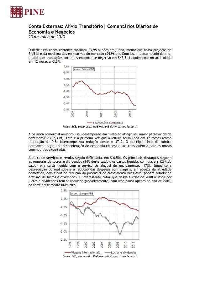 Conta Externas: Alívio Transitório| Comentários Diários de Economia e Negócios 23 de Julho de 2013 O déficit em conta corr...