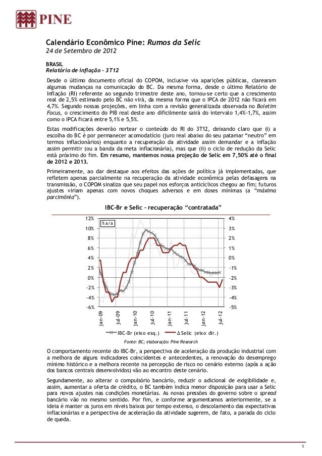 Calendário Econômico Pine: Rumos da Selic24 de Setembro de 2012BRASILRelatório de inflação - 3T12Desde o último documento ...