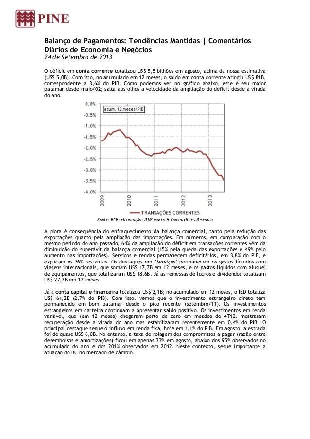 Balanço de Pagamentos: Tendências Mantidas | Comentários Diários de Economia e Negócios 24 de Setembro de 2013 O déficit e...