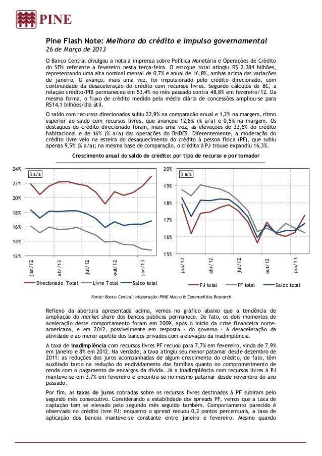 Pine Flash Note: Melhora do crédito e impulso governamental                  26 de Março de 2013                   O Banco...