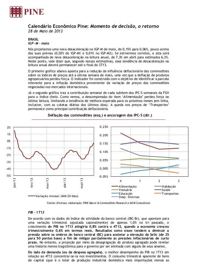 Calendário Econômico Pine: Momento de decisão, o retorno28 de Maio de 2013BRASILIGP –M – maioNós projetamos uma nova desac...