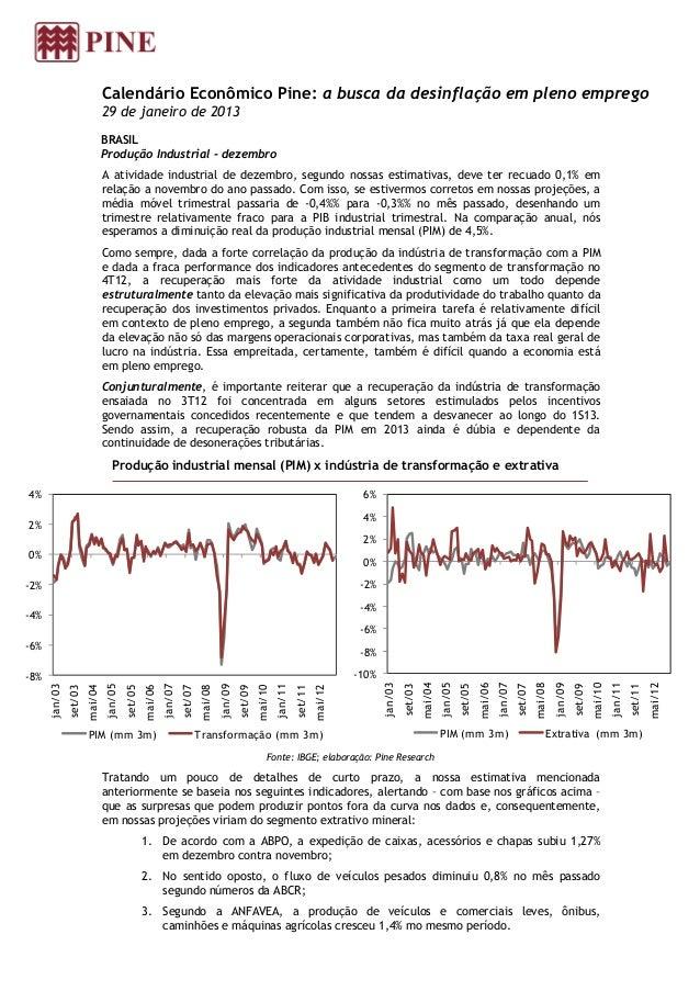 Calendário Econômico Pine: a busca da desinflação em pleno emprego                                 29 de janeiro de 2013  ...