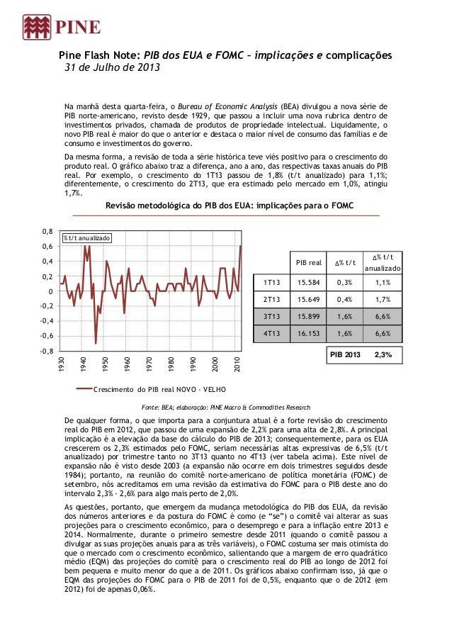 Pine Flash Note: PIB dos EUA e FOMC – implicações e complicações 31 de Julho de 2013 Na manhã desta quarta-feira, o Bureau...