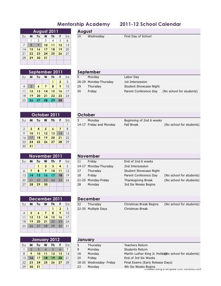 Mentorship Academy                    2011-12 School Calendar         August 2011               AugustSu   M    Tu   W    ...