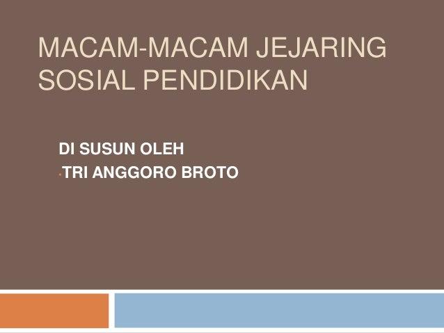 MACAM-MACAM JEJARING SOSIAL PENDIDIKAN DI SUSUN OLEH •TRI ANGGORO BROTO