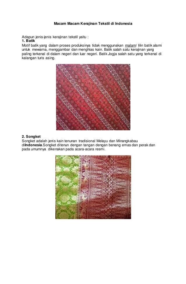 Macam macam kerajinan tekstil di indonesia