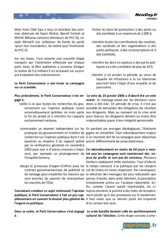 NewDay.fr EXPRIMEO Marc-Yvan Côté (qui a reçu et distribué des som- mes obtenues de façon illicite), Benoît Corbeil et Mic...