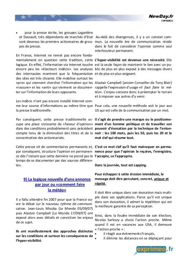 NewDay.fr EXPRIMEO • pour la presse écrite, les groupes Lagardère et Dassault, très dépendants de marchés d'Etat sont deve...