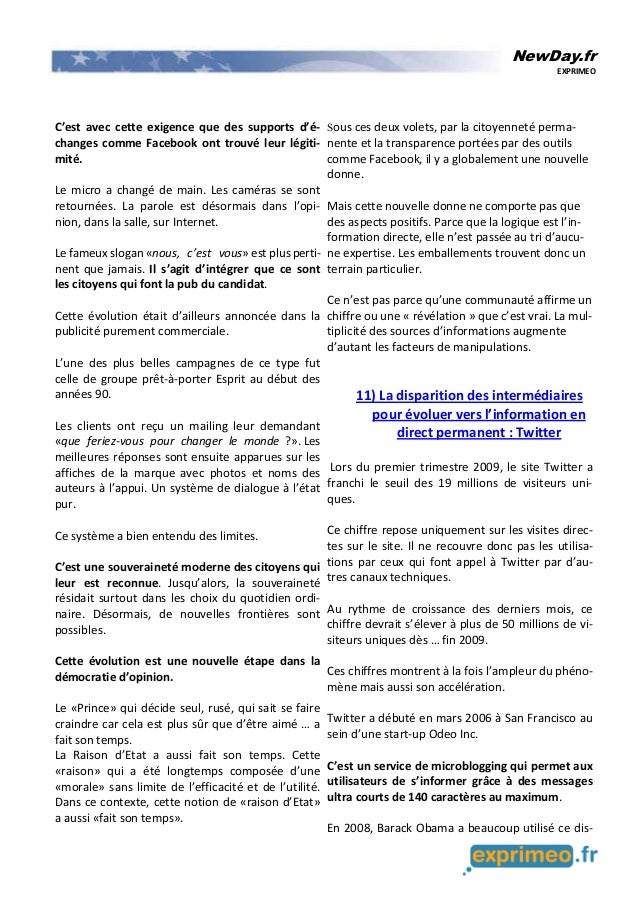 NewDay.fr EXPRIMEO C'est avec cette exigence que des supports d'é- changes comme Facebook ont trouvé leur légiti- mité. Le...