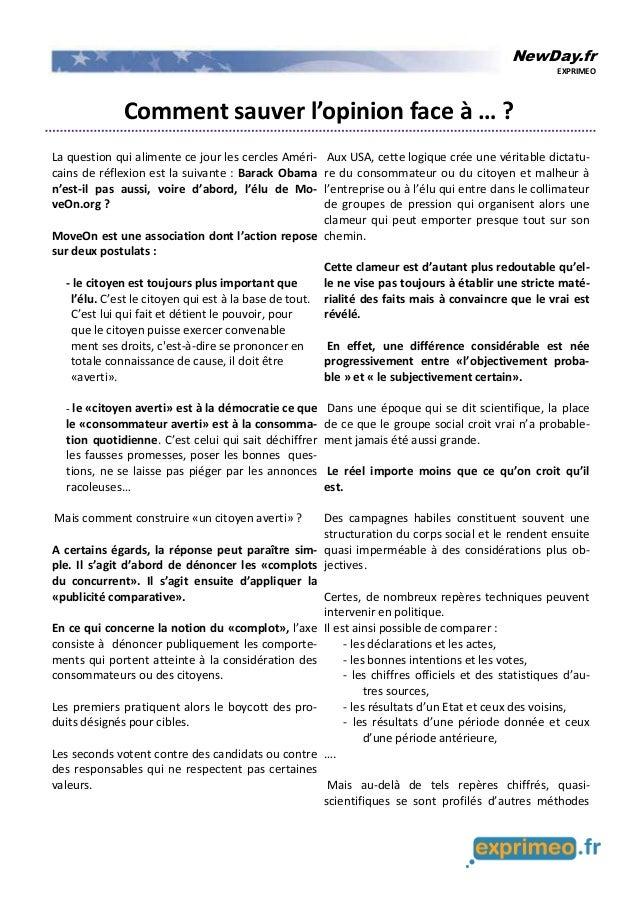 NewDay.fr EXPRIMEO Comment sauver l'opinion face à … ? La question qui alimente ce jour les cercles Améri- cains de réflex...