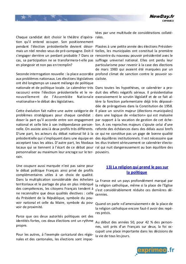 NewDay.fr EXPRIMEO Chaque candidat doit choisir le théâtre d'opéra- tion qu'il entend occuper. Son positionnement pendant ...