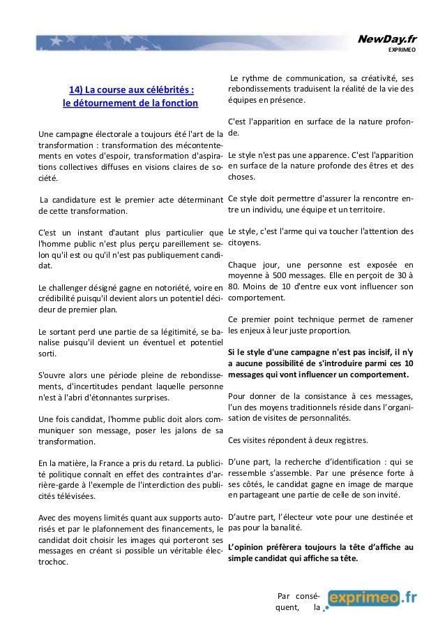 NewDay.fr EXPRIMEO 14) La course aux célébrités : le détournement de la fonction Une campagne électorale a toujours été l'...