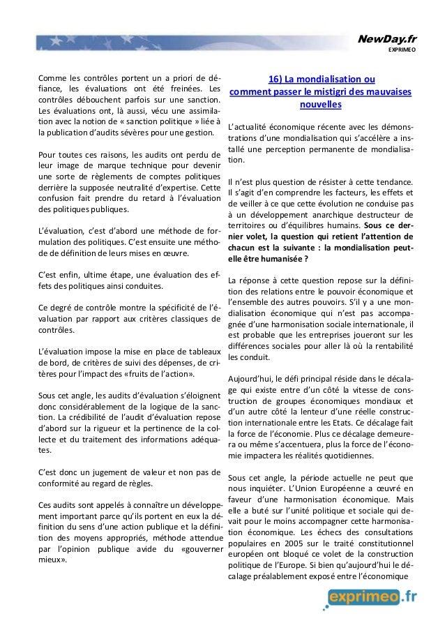 NewDay.fr EXPRIMEO Comme les contrôles portent un a priori de dé- fiance, les évaluations ont été freinées. Les contrôles ...