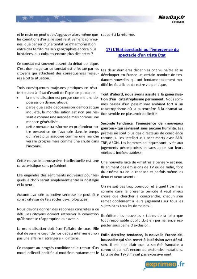 NewDay.fr EXPRIMEO et le reste ne peut que s'aggraver alors même que les conditions d'origine sont relativement commu- nes...