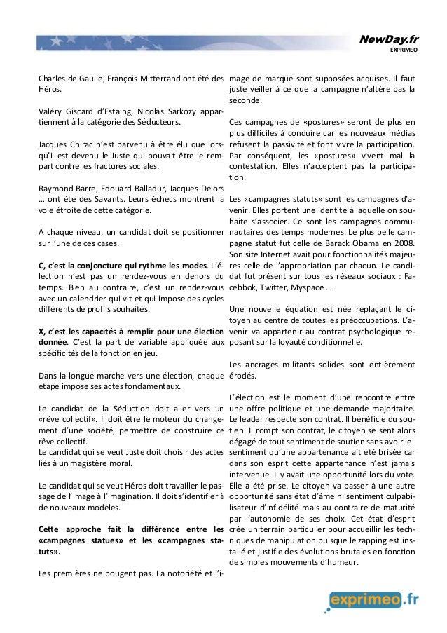 NewDay.fr EXPRIMEO Charles de Gaulle, François Mitterrand ont été des Héros. Valéry Giscard d'Estaing, Nicolas Sarkozy app...