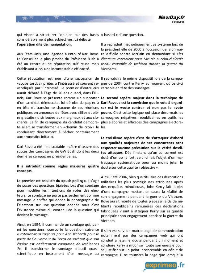 NewDay.fr EXPRIMEO qui visent à structurer l'opinion sur des bases considérablement plus subjectives. Là débute l'opératio...
