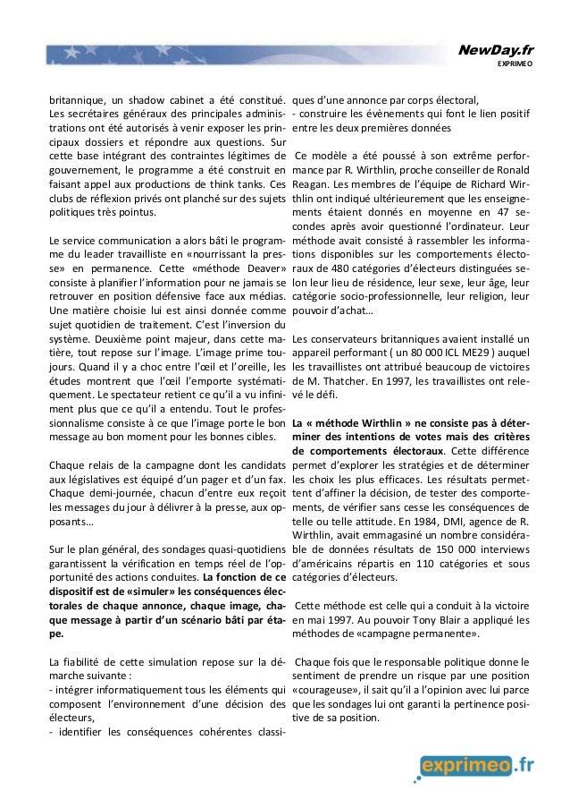 NewDay.fr EXPRIMEO britannique, un shadow cabinet a été constitué. Les secrétaires généraux des principales adminis- trati...