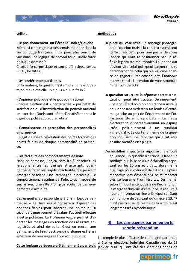 NewDay.fr EXPRIMEO veiller. - Le positionnement sur l'échelle Droite/Gauche Même si ce clivage est désormais moindre dans ...