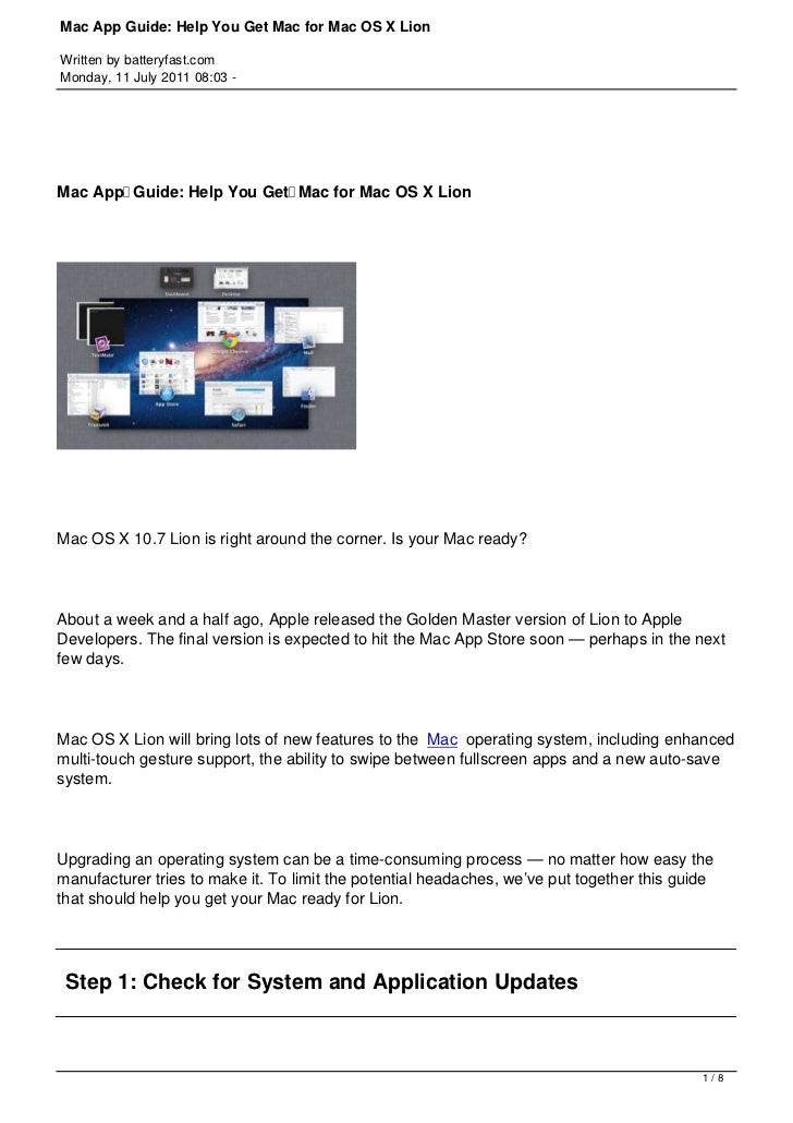 Mac App Guide: Help You Get Mac for Mac OS X LionWritten by batteryfast.comMonday, 11 July 2011 08:03 -Mac AppGuide: Help...