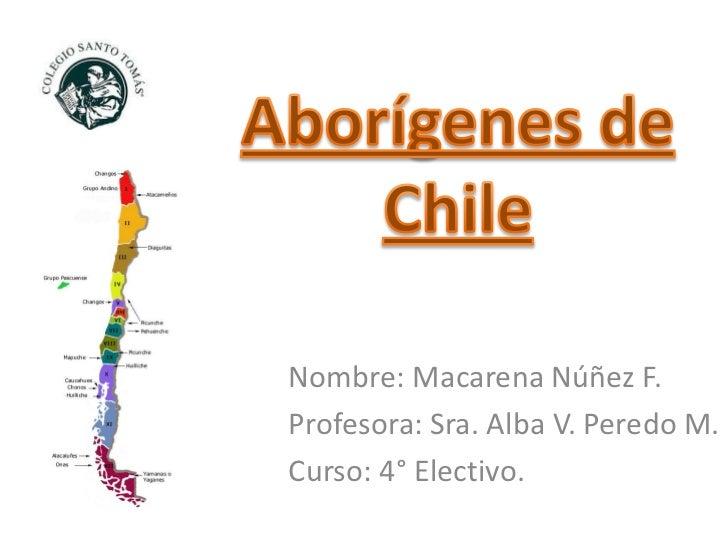 Nombre: Macarena Núñez F.Profesora: Sra. Alba V. Peredo M.Curso: 4° Electivo.